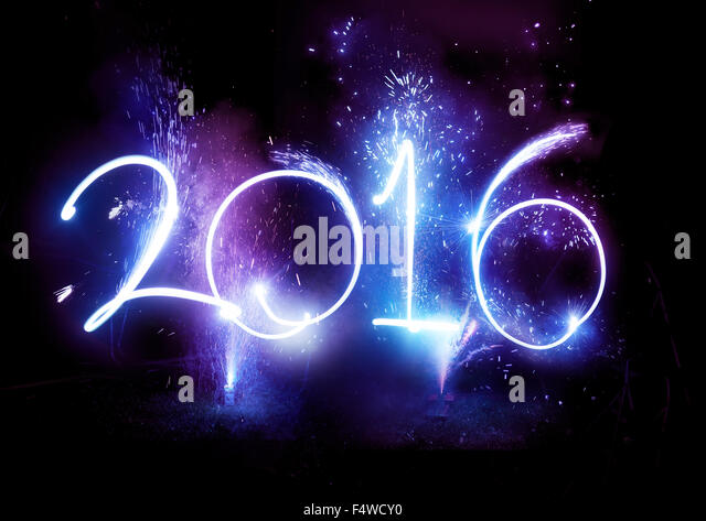 2016 Fireworks party -  Happy New Year Display celebrations!2016 written in lights trails and fireworks. - Stock-Bilder