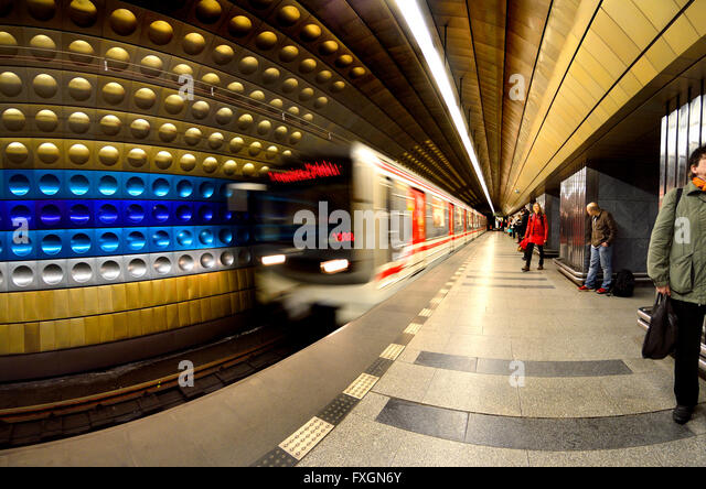 Prague, Czech Republic. Metro (underground railway) Train arriving at the platform - Stock Image
