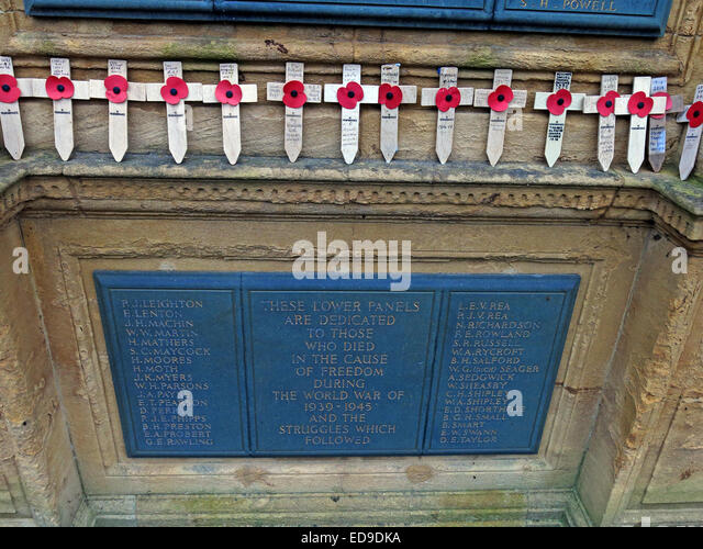 Lichfield Cenotaph war Memorial, names of the war dead, Staffordshire, England, UK - Stock Image