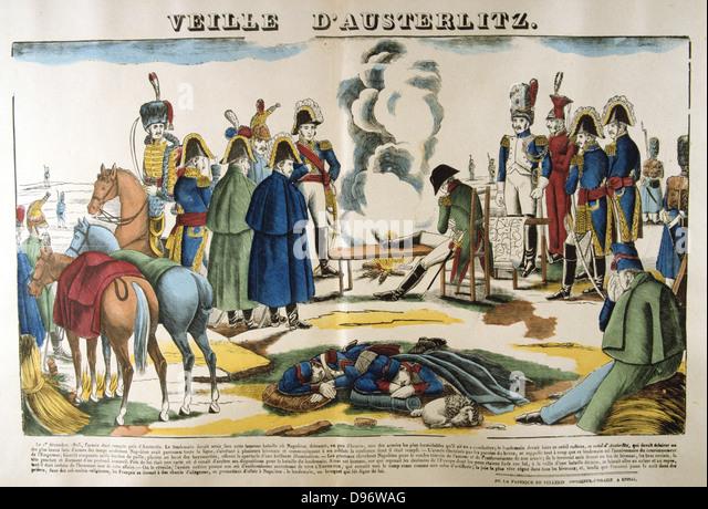 Napoleon on the evening before Austerlitz. The Battle of Austerlitz (Bitva u Slavkova) also known as the Battle - Stock Image
