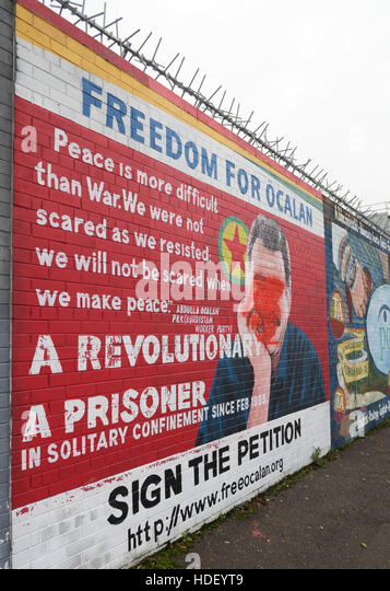 Freedom For Ocalan - International Peace Wall,Cupar Way,West Belfast , Northern Ireland, UK - Stock Image