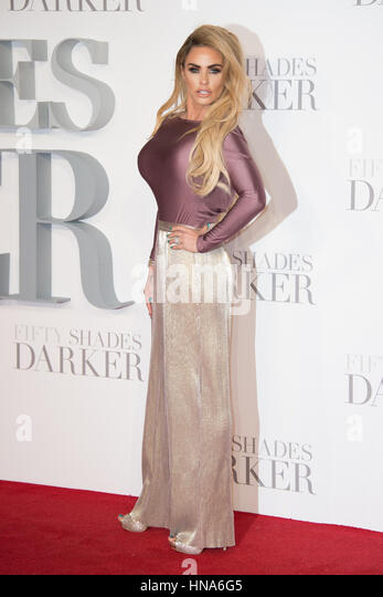 Katie Price attends the premiere of Fifty Shades Darker Odeon Leicester Square, London. - Stock Image