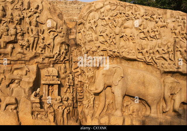 Elk201-4260 India, Tamil Nadu, Mamallapuram, Arjuna's Penance relief carving - Stock Image