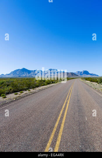 Road in Big Bend National Park,Texas, USA - Stock Image