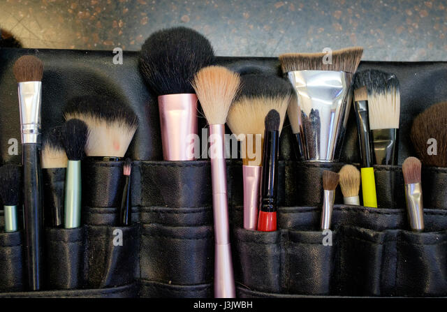 Makeup Brushes at Wedding - Stock Image