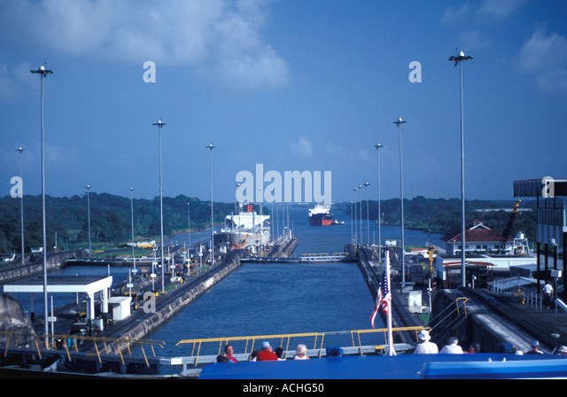 Panama Central America Panama Canal Ships transiting locks - Stock Image
