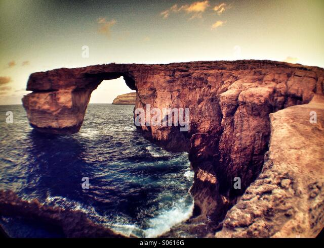 Blue Hole and Azure Window at dawn - Stock Image