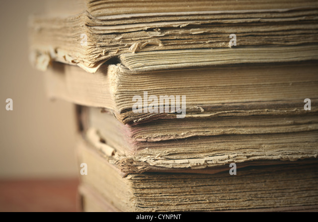 old book close up, soft focus - Stock Image