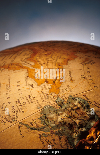 Close Up of World Globe Showing State of Alaska - Stock Image