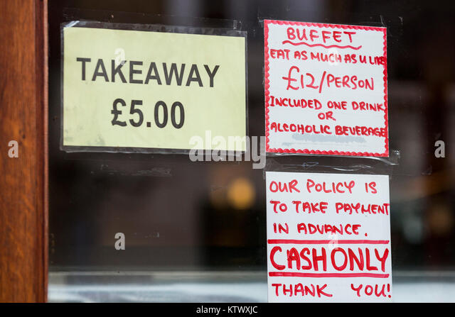 Takeaway sign outside a Chinese restaurant in London's Chinatown, London, England, United Kingdom - Stock Image