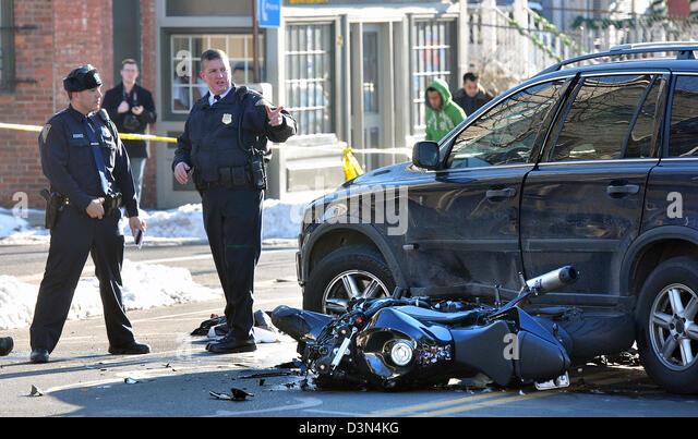 Motorcycle, Motorbike crash in New Haven CT USA - Stock Image