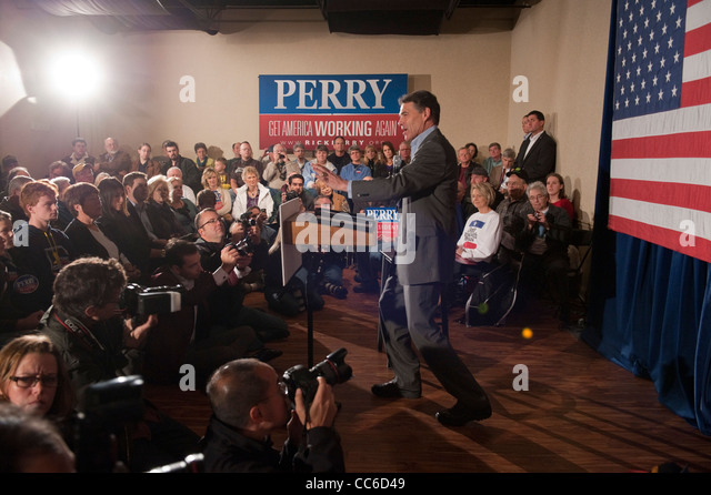 Texas Governor Rick Perry campaigns in the Iowa caucuses for the Republican nomination for U.S. President - Stock Image