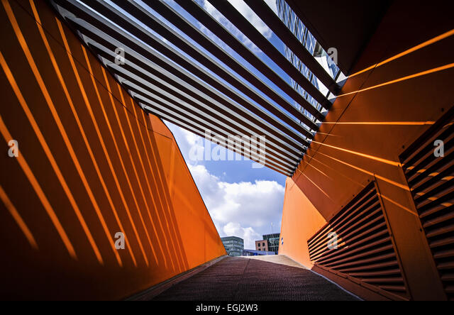 Germany, Hamburg, harbour, harbor, port, HafenCity, Oberbaumbrücke, Deichtorcenter, ZDF, - Stock Image