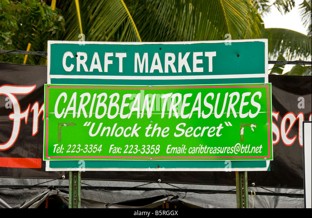 Belize City Craft Market sign advertises Caribbean Treasures western caribbean cruise port - Stock Image