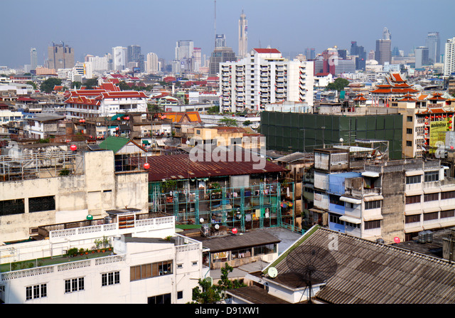 Thailand Bangkok Samphanthawong Chinatown aerial view buildings urban city skyline - Stock Image