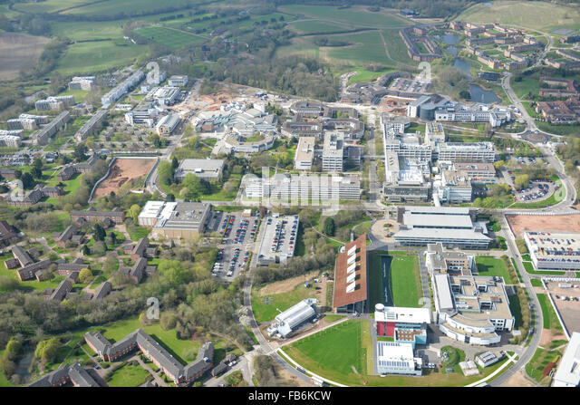An aerial view of the campus of Warwick University - Stock Image