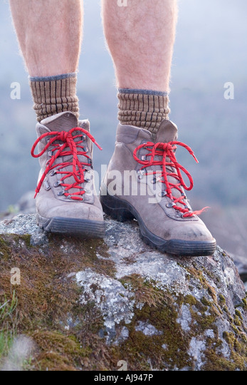 Hiking boots of man in California - Stock-Bilder