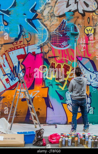 London, UK. 8th Aug, 2017. Their work Apollo takes shape in Berwick Street. PichiAvo: In Gods We Trust – a new commission - Stock Image