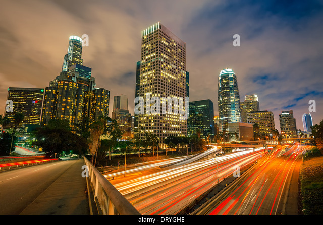 Los Angeles at night - Stock Image