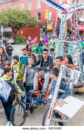 Vancouver Earth Day Parade, organised by Youth for Climate Justice Now, Vancouver, British Columbia, Canada, - Stock Image