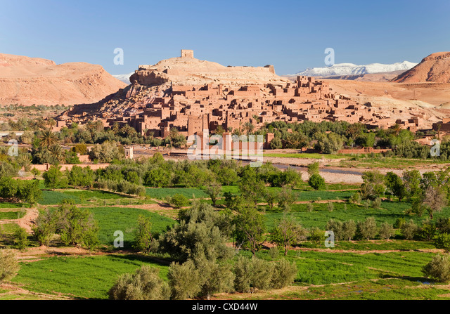 Town of Ait Benhaddou on a former Caravan Route beside the Ouarzazate River, often used as a film location, Morocco - Stock Image