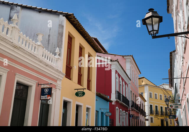 colonial architecture in the Old Town, Salvador, Brazil - Stock Image