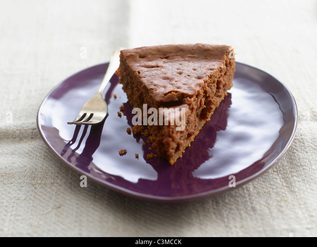Plate of brownie pure cake, close-up - Stock-Bilder