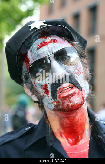London, UK. 8th Oct, 2016. Participants dressed as undead zombies for World Zombie Day in London Credit:  Paul Brown/Alamy - Stock Image