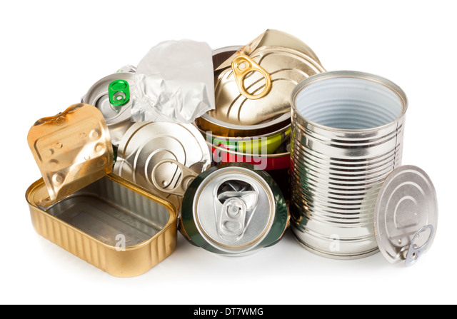 Empty metal cans waiting to be recycling - Stock Image