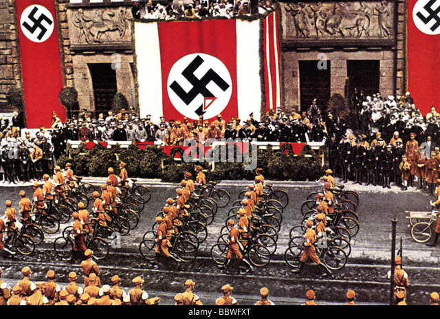 HITLER takes the salute at a parade of Brown Shirts - Stock Image