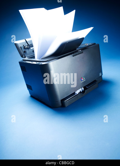 Printer with paper flying out - Stock Image