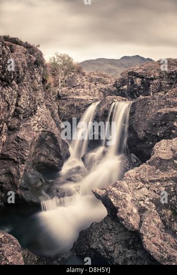 Waterfall at the Fairy Pools, Isle of Skye, Scotland, United Kingdom - Stock Image