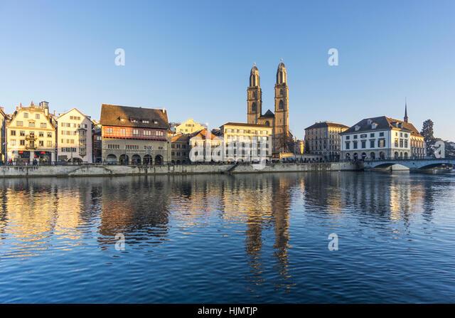 Grossmunster, River Limmat,  Zurich, Switzerland - Stock Image