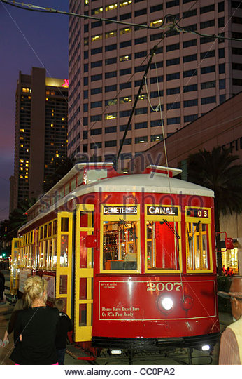 New Orleans Louisiana downtown RTA Regional Transit Authority public transportation Canal Street Streetcar Line - Stock Image