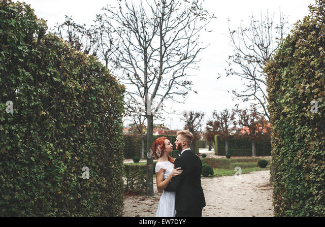 Wedding couple on a walk - Stock Image
