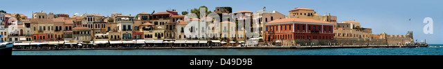 Panoramic view of Chania harbour, Crete - Stock Image