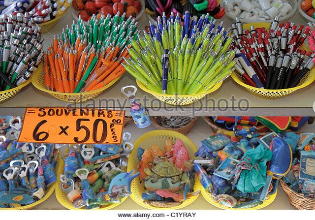 Cancun Mexico Yucatán Peninsula Quintana Roo Mercado 28 market shopping gift shop store souvenir cheap merchandise - Stock Image