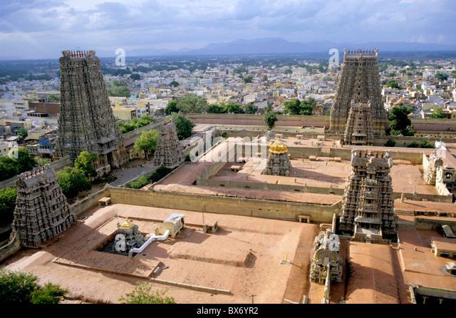 Madurai, Tamil Nadu, India - The Meenakshi Amman Temple and cityscape of Madurai. - Stock Image