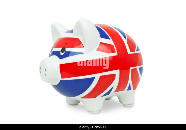 piggy bank cut out Union jack - Stock Image