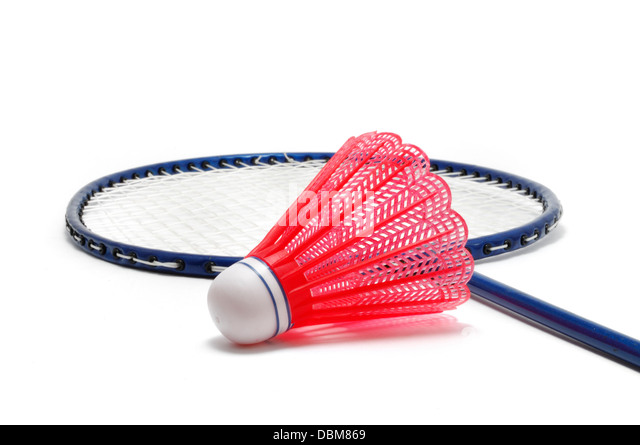 Badminton Racket and Shuttlecock (Birdie) - Stock Image