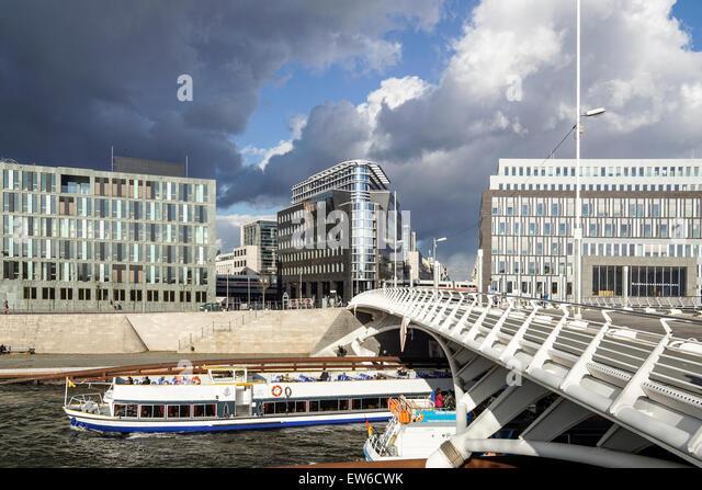 Kronprinzen Bridge, Modern architecture, Calatrava bridge, River Spree, Tour Boat, Berlin , Mitte,  Germany - Stock Image