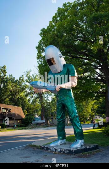 Wilmington, Illinois, USA - July 5, 2014: The Gemini Giant statue in the US Route 66 in Wilmington, Illinois, USA - Stock Image