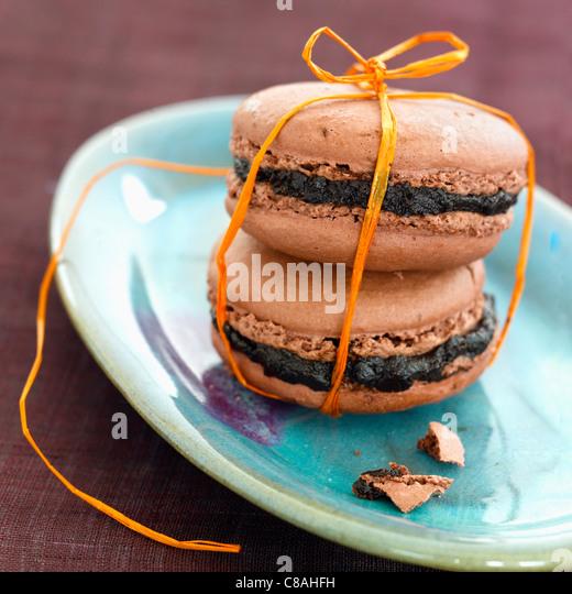 Chocolate macaroons - Stock Image