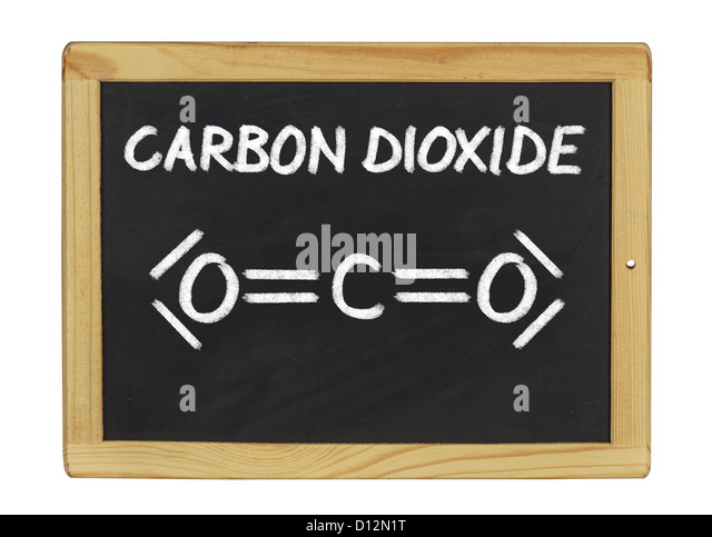 chemical formula of carbon dioxide on a blackboard - Stock Image