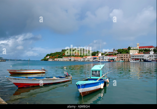 St George's grenada caribbean island skyline, carenage fishing boat scenic landscape - Stock Image