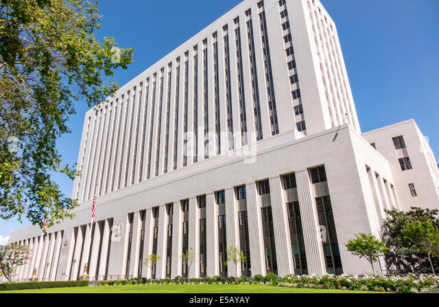 California CA Los Angeles L.A. Downtown Civic Center district United States Court House federal court judicial branch - Stock Image