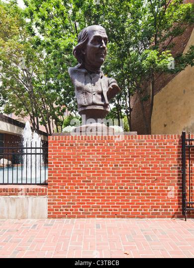 Benjamin Franklin bust, Philadelphia - Stock Image