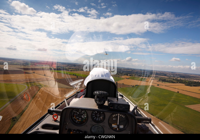 Veiw from the rear seat of a Schempp-Hirth Duo Discus glider on aerotow. - Stock Image