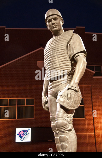 Baseball legend, Johnny Bench, at main entrance behind home plate of the AT&T Bricktown Ballpark, Oklahoma City, - Stock Image