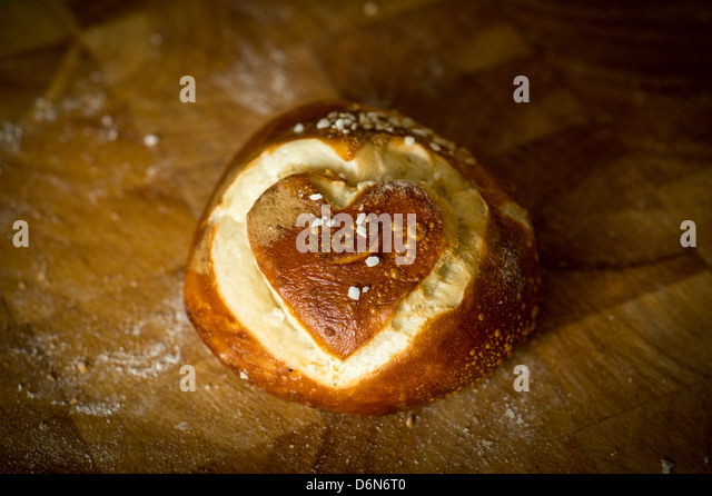 Berlin, Germany, a heart on a Laugenbroetchen - Stock Image